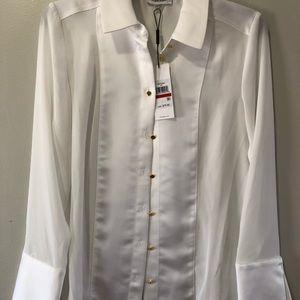 Calvin Klein white contrast- cuff shirt